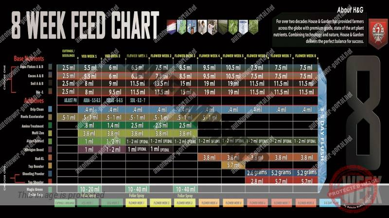 House Garden 8 Week Feed Chart Autoflower Portal